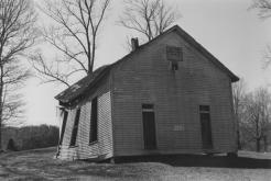 Mt. Zion New Light Baptist Church, near Elkinsville, circa 1985. This image of the front shows the separate doors for men and women