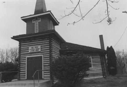Pine Grove Pentecostal Assembly of Jesus Christ on Knight Ridge Road, circa 1985. The original church stood near the Grubb family farm.